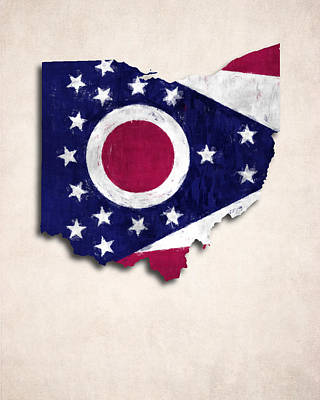 Ohio Map Art With Flag Design Art Print by World Art Prints And Designs