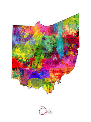 Ohio Map Print by Michael Tompsett
