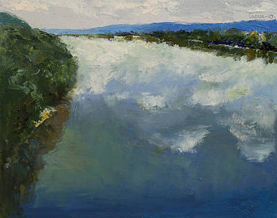 Impasto Oil Painting - Ohio River Painting by Michael Creese
