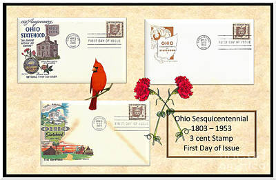 Ohio Sesquicentennial First Day Covers Art Print by Charles Robinson