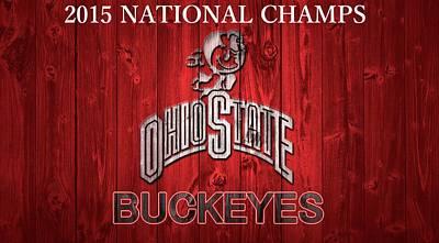 Ohio State Buckeyes National Champs Barn Door Art Print by Dan Sproul