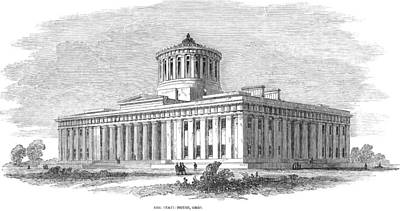Ohio Painting - Ohio State House, 1850 by Granger