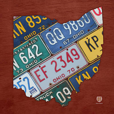 Ohio State Map Made Using Vintage License Plates Art Print