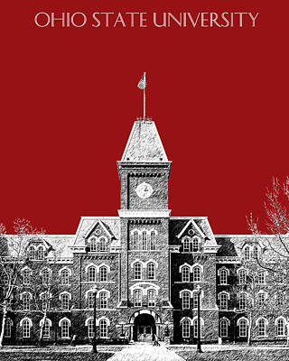 Pen And Ink Digital Art - Ohio State University - Dark Red by DB Artist