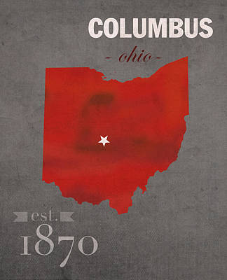 Ohio State University Buckeyes Columbus Ohio College Town State Map Poster Series No 005 Art Print