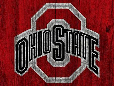 Ohio State University On Worn Wood Art Print