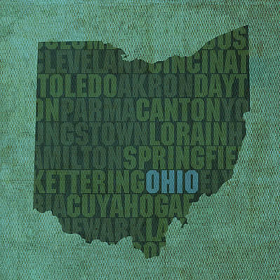 Word Art Mixed Media - Ohio State Word Art On Canvas by Design Turnpike