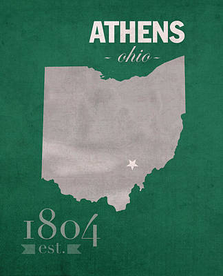 Stanford Mixed Media - Ohio University Athens Bobcats College Town State Map Poster Series No 082 by Design Turnpike