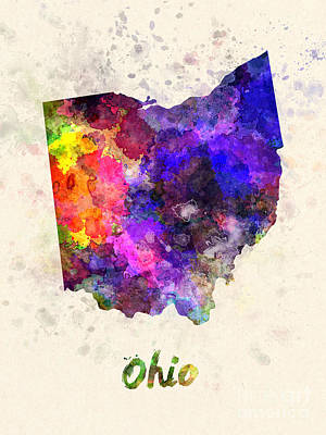 Cartography Painting - Ohio Us State In Watercolor by Pablo Romero