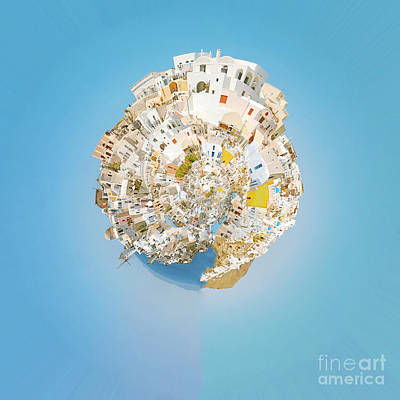 Abstract Skyline Royalty-Free and Rights-Managed Images - Oia Panorama planet 02 by Antony McAulay