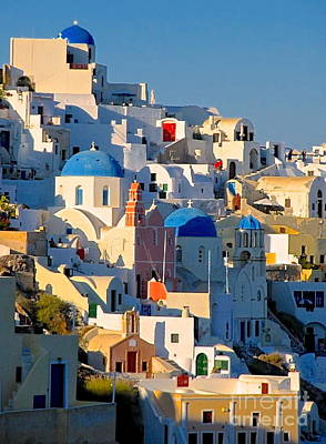 Photograph - Oia Shadows by Suzanne Oesterling