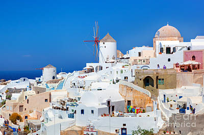 Resort Photograph - Oia Town On Santorini Greece Famous Windmills by Michal Bednarek