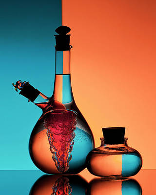 Glass Bottle Photograph - Oil And Vinegar by Aida Ianeva