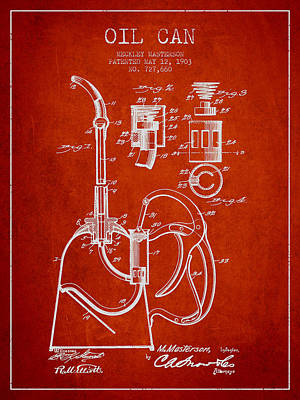 Oil Can Patent From 1903 - Red Print by Aged Pixel