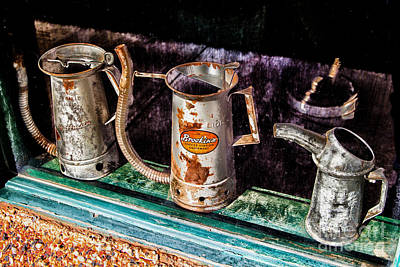 Photograph - Oil Cans 3 by Jim McCain