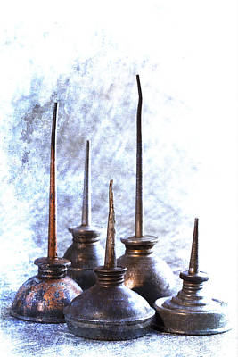 Machine Photograph - Oil Cans by Carol Leigh