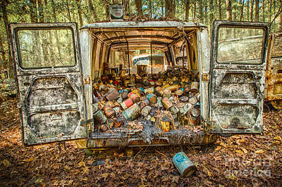 Forest Photograph - Oil Cans In The Van At Old Car City Georgia by Jim Swallow