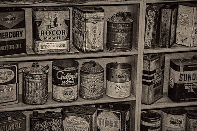 Photograph - Oil Cans Automotive Antiques by Phil Cardamone