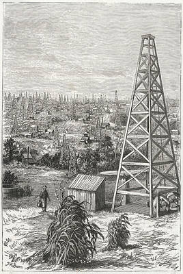 Pennsylvania Drawing - Oil City And Drake's Wells, Pennsylvania by Mary Evans Picture Library
