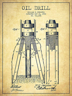 Oil Drill Patent From 1902 - Vintage Print by Aged Pixel
