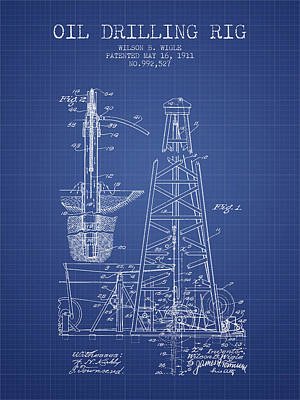Oil Drilling Rig Patent From 1911 - Blueprint Art Print by Aged Pixel