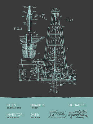Oil Drilling Rig Patent From 1911 - Gray Blue Print by Aged Pixel