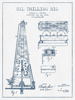 Oil Drilling Rig Patent From 1916 -  Blue Ink Art Print