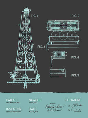 Oil Drilling Rig Patent From 1916 - Modern Gray Blue Print by Aged Pixel