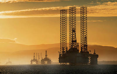 Oil Drilling Rigs Out In The Ocean Art Print