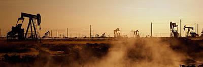Oil Rig Photograph - Oil Drills In A Field, Maricopa, Kern by Panoramic Images