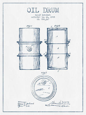 Drums Digital Art - Oil Drum Patent Drawing From 1905 -  Blue Ink by Aged Pixel