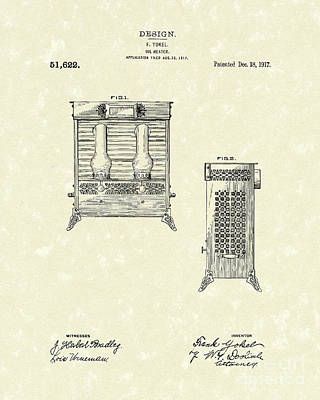 Drawing - Oil Heater 1917 Patent Art by Prior Art Design