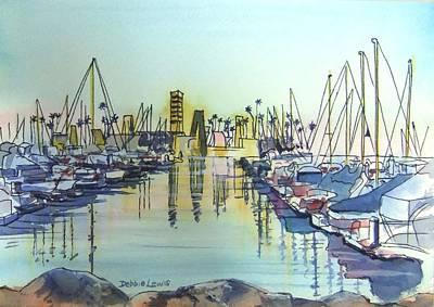 Painting - Oil Island At Rainbow Harbor Long Beach Ca by Debbie Lewis