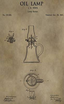 Darkness Mixed Media - Oil Lamp Patent by Dan Sproul