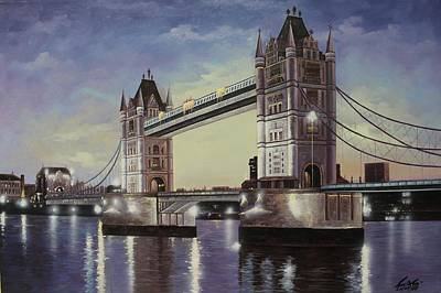 London Skyline Painting - Oil Msc 046 by Mario Sergio Calzi