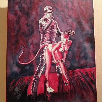 Pop Art Photograph - Oil On Canvas.  #mileycyrus by Vidya S