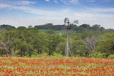 Wildflowers In Texas Photograph - Oil On Canvas - Texas Windmill In A Field Of Wildflowers by Rob Greebon