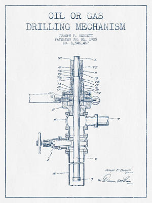 Oil Or Gas Drilling Mechanism Patent From 1925 -  Blue Ink Print by Aged Pixel