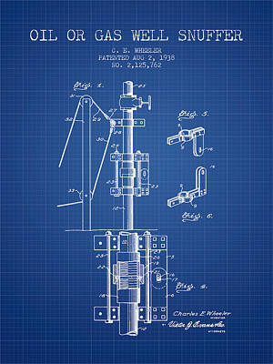 Oil Or Gas Well Snuffer Patent From 1938 - Blueprint Art Print by Aged Pixel