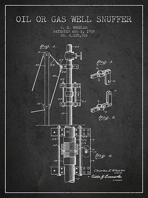 Oil Or Gas Well Snuffer Patent From 1938 - Charcoal Art Print by Aged Pixel