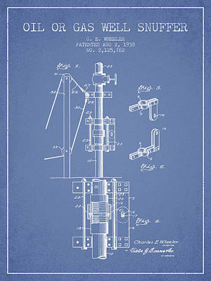 Oil Or Gas Well Snuffer Patent From 1938 - Light Blue Art Print by Aged Pixel