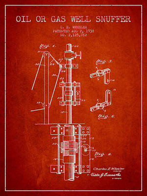 Oil Or Gas Well Snuffer Patent From 1938 - Red Art Print by Aged Pixel