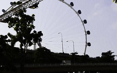 Tourist Attraction Digital Art - Oil Painting - Section Of Singapore Flyer And Bridge by Ashish Agarwal