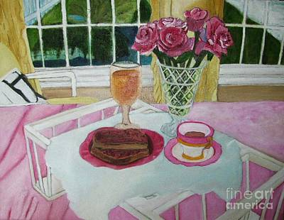 Roses Painting - Oil Painting Breakfast Over Looks The Pond by Margaret Newcomb