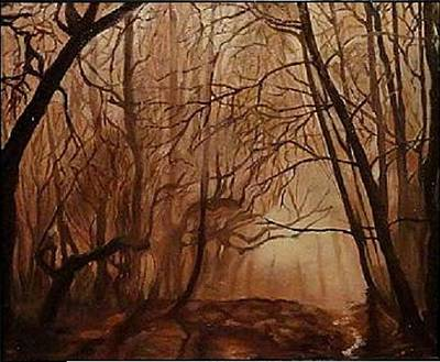 Signe Painting - Oil Painting Original Oil Canvas  Landscape  Forest by Angel Angelov