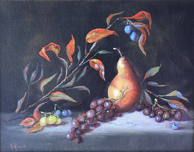 Painting - Oil Painting - Still Life With Grapes And Pear by Roena King