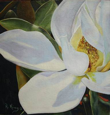 Oil Painting - Sydney's Magnolia Art Print by Roena King