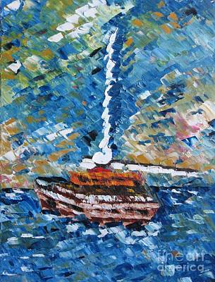 Thick Painting - Oil Painting With Knife Of Fishing Boat  by Mario Perez