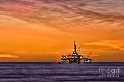 Oil Platform At Sunset  Art Print