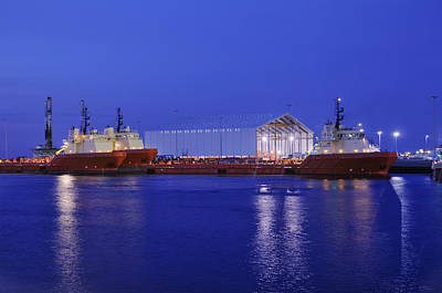 Photograph - Oil Port At Night by Bradford Martin